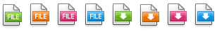 Row of file download icons